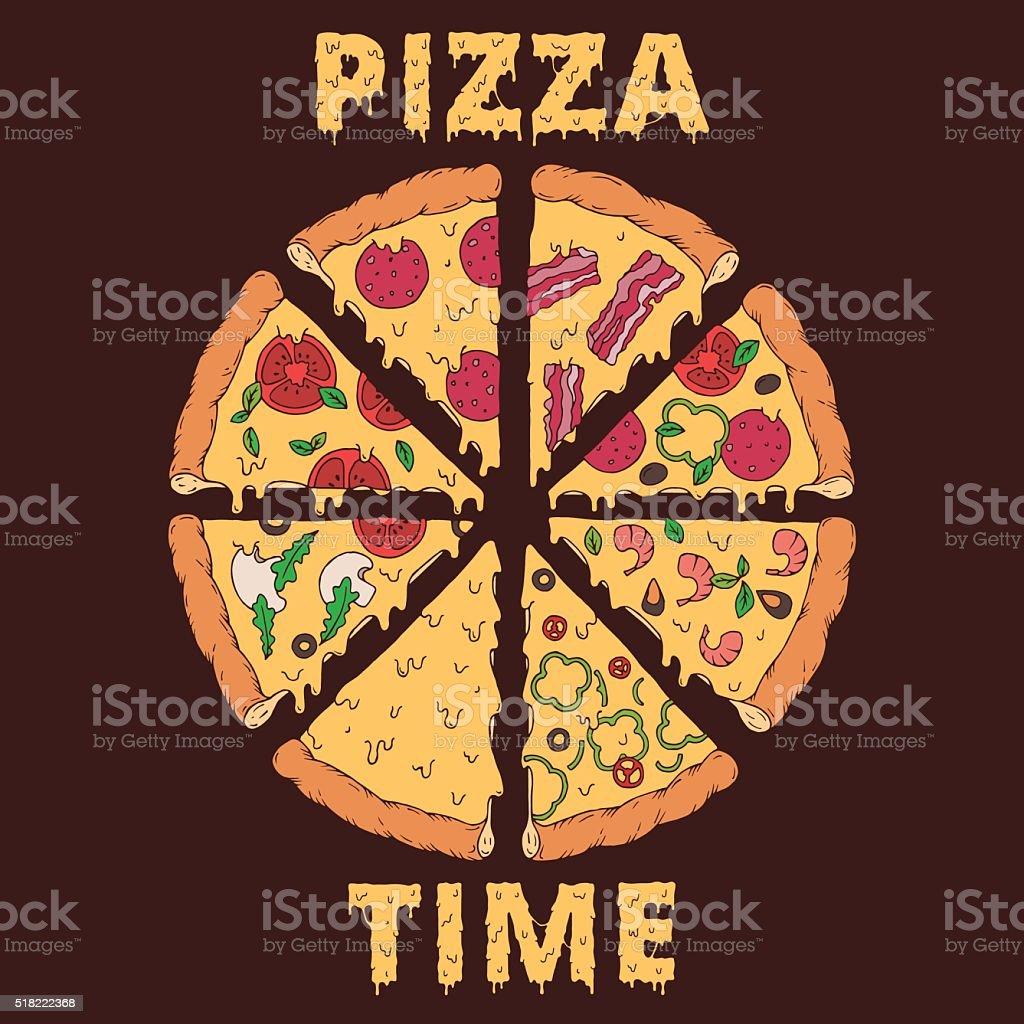 Hand-drawn pizza slices vector art illustration