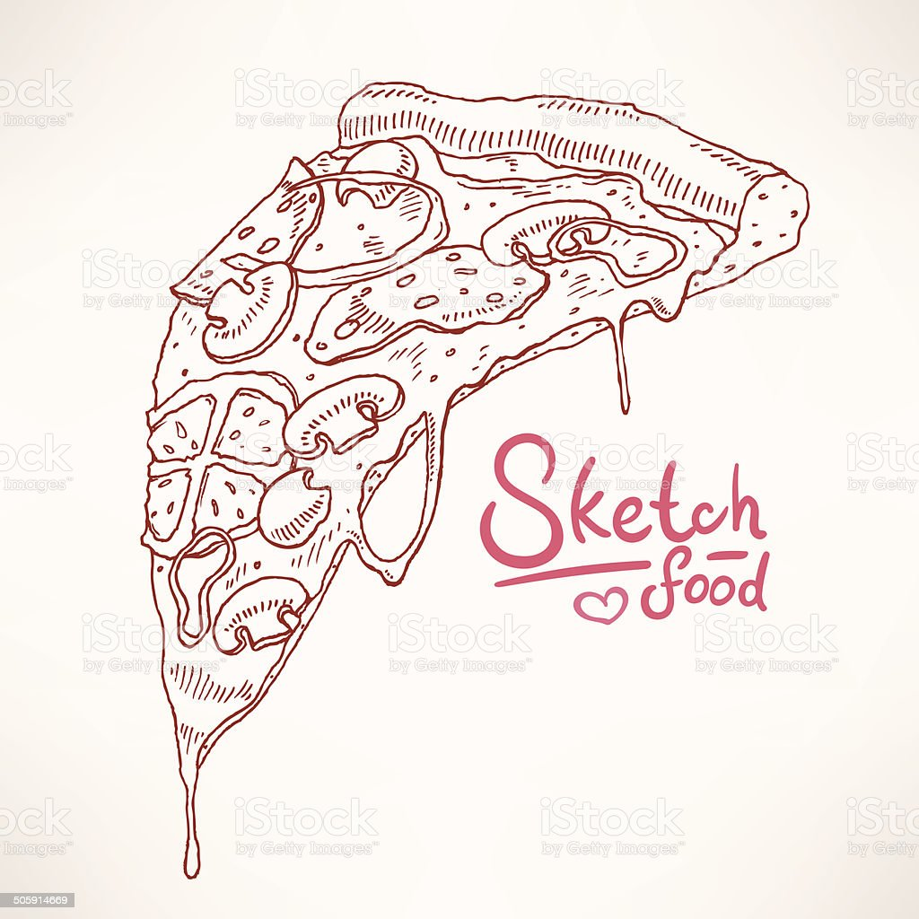 hand-drawn pizza vector art illustration