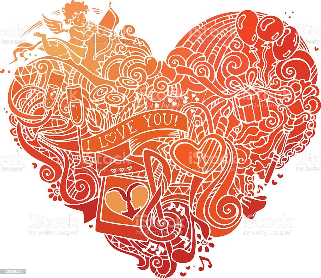 Hand-drawn red doodles heart isolated on white background. vector art illustration