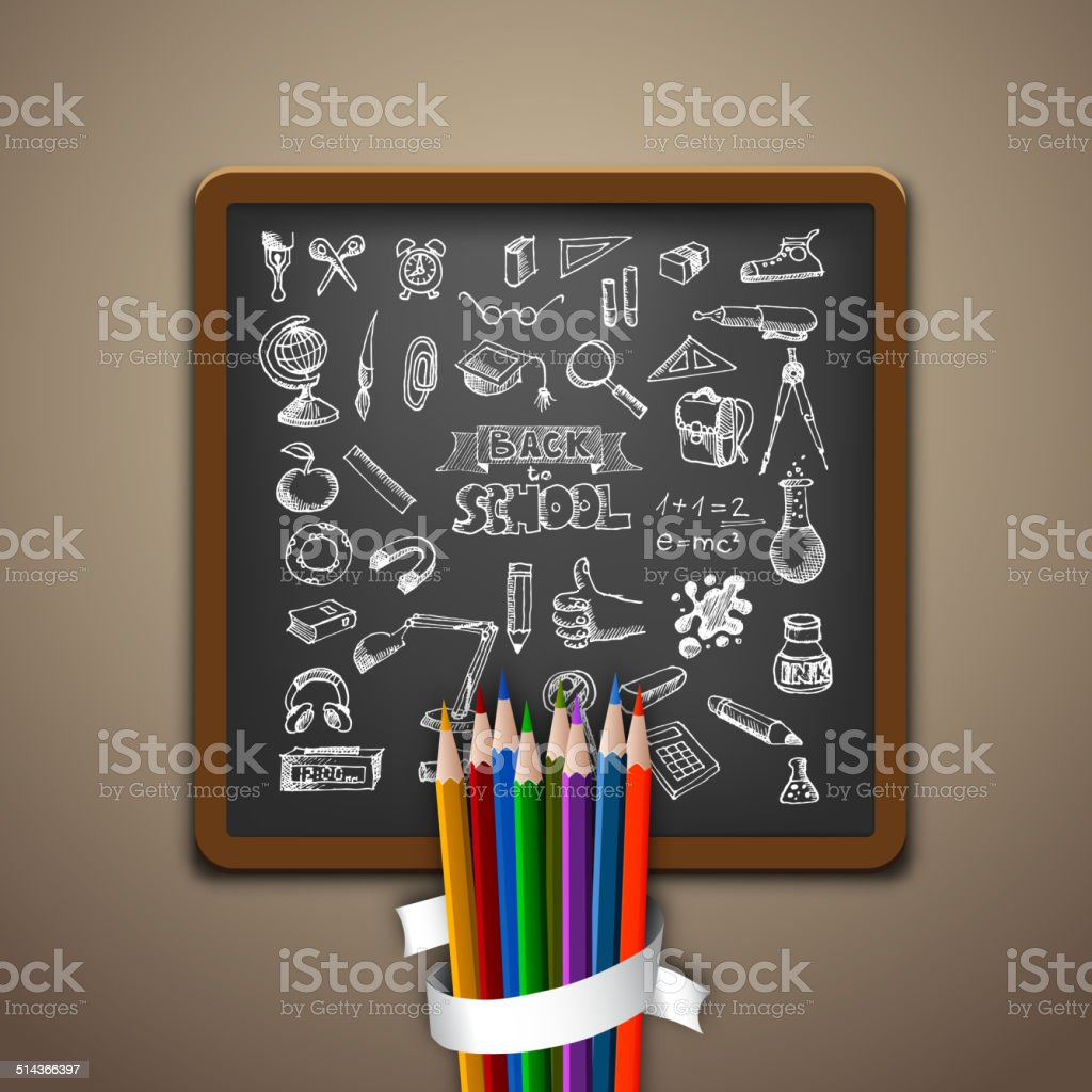 Hand-drawn school set. Back to school illustration vector art illustration