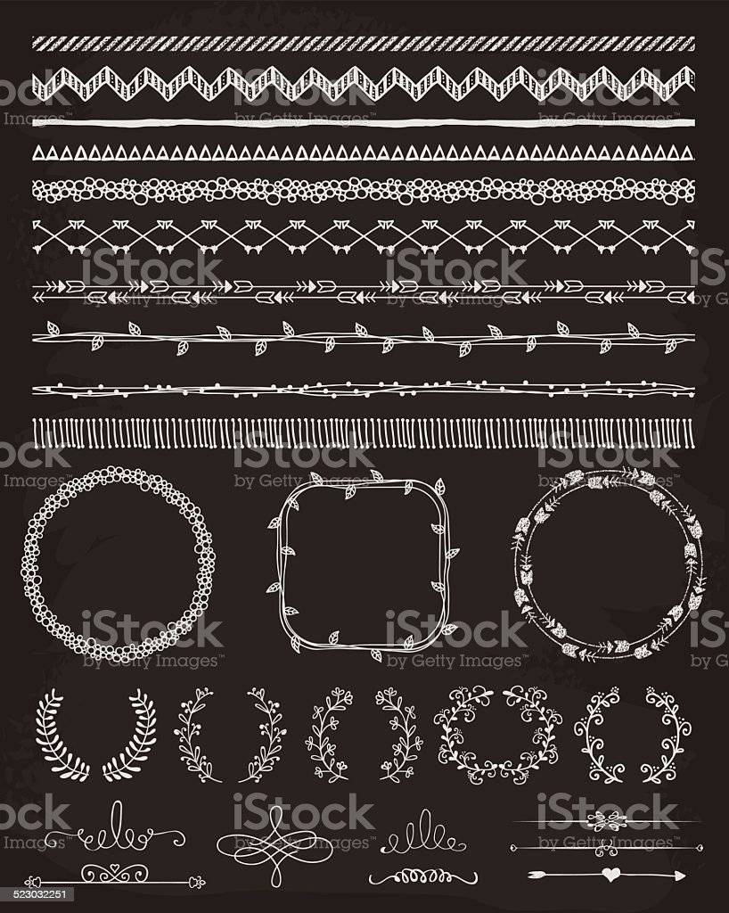 Hand-Drawn Seamless Borders and Design Elements vector art illustration