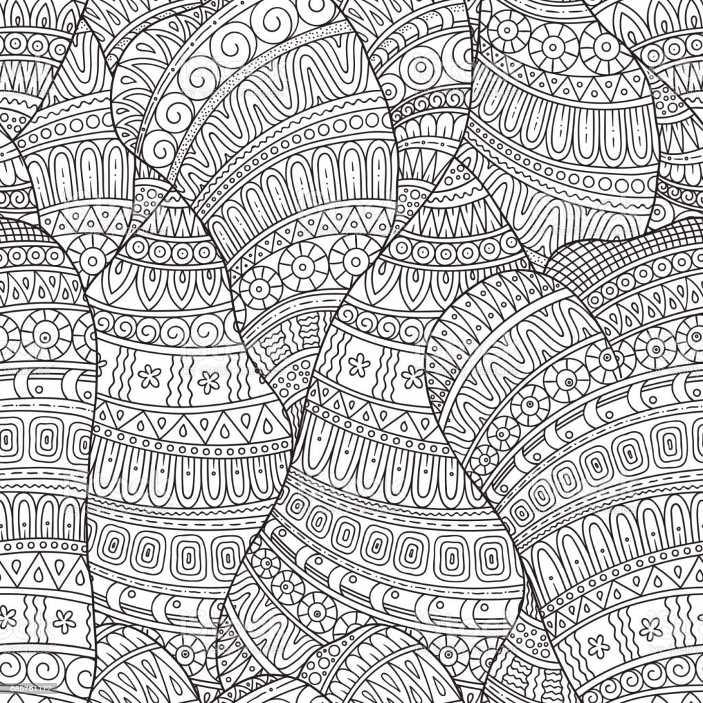 Hand-drawn seamless pattern of abstract geometric elements. vector art illustration