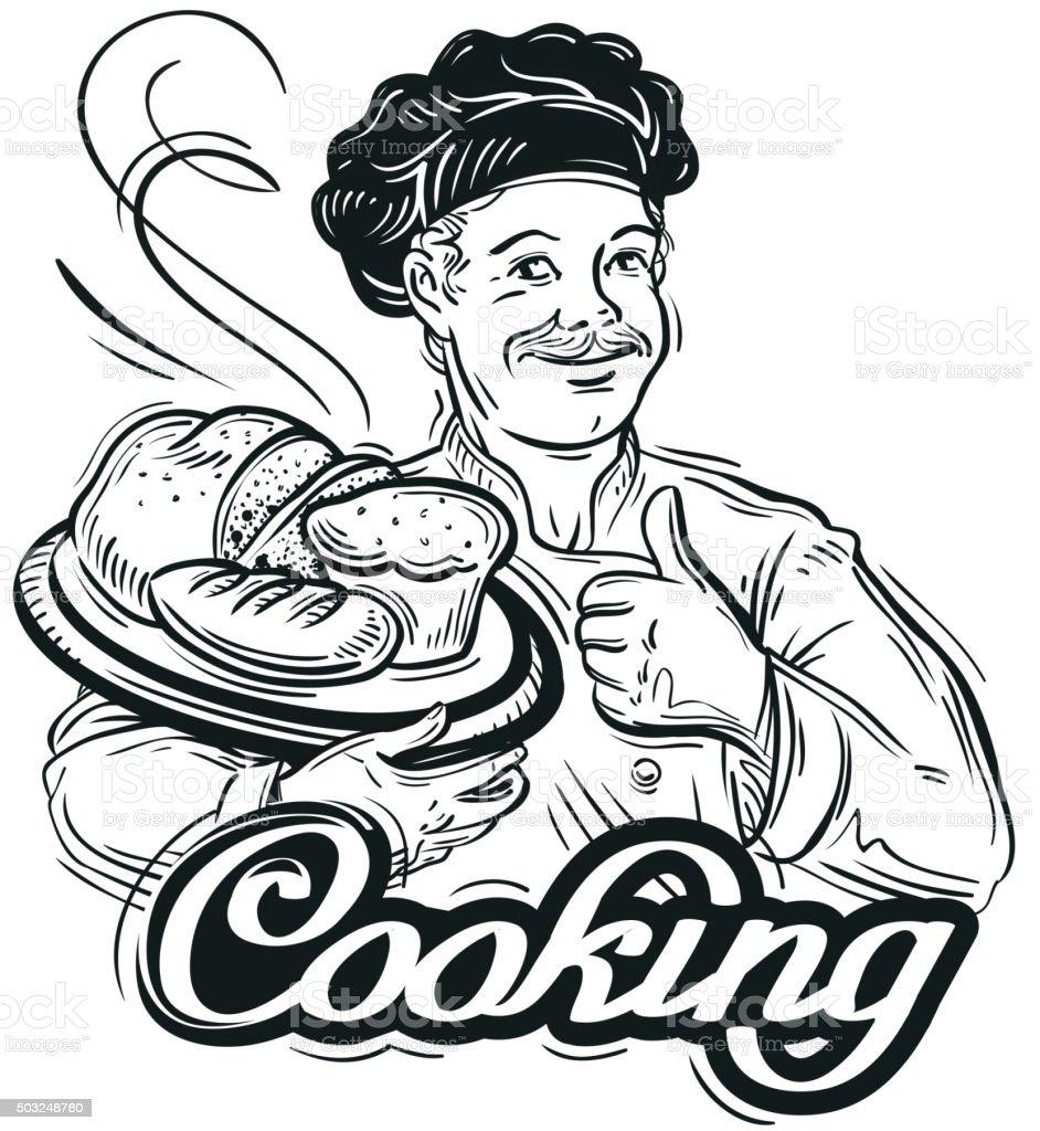 hand-drawn sketch baker and the bread. vector illustration vector art illustration