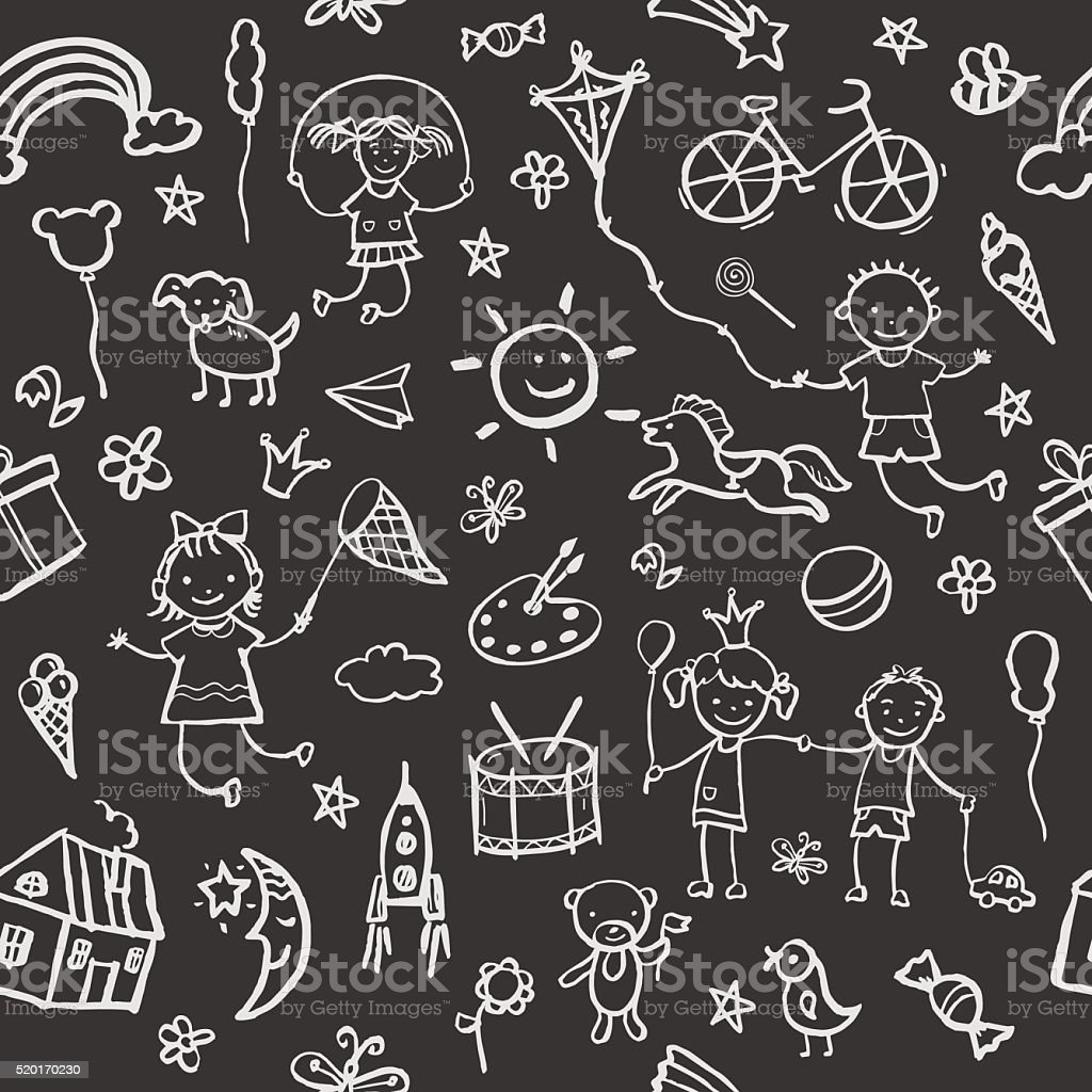 Hand-drawn sketch in the style seamless pattern. vector art illustration