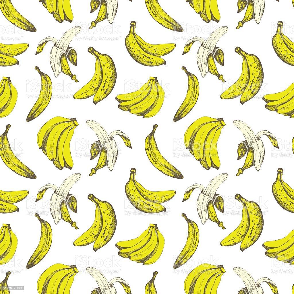 Hand-drawn sketch of banana. Seamless nature background. vector art illustration
