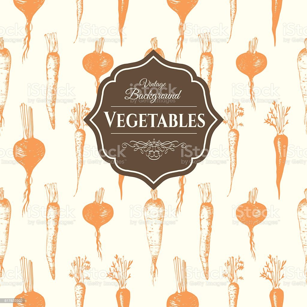 Hand-drawn sketch of root vegetables. Seamless nature background. vector art illustration