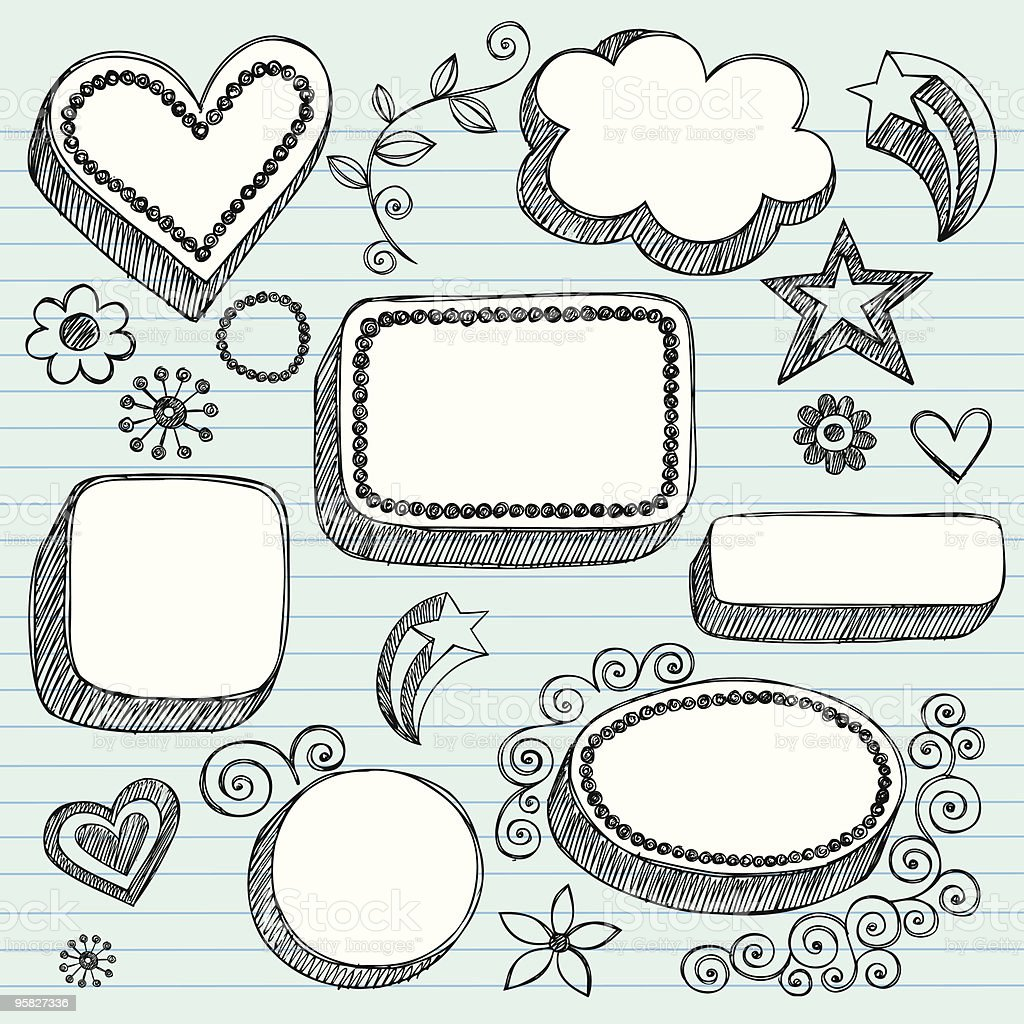 Hand-Drawn Sketchy 3-D Shapes Notebook Doodles royalty-free stock vector art