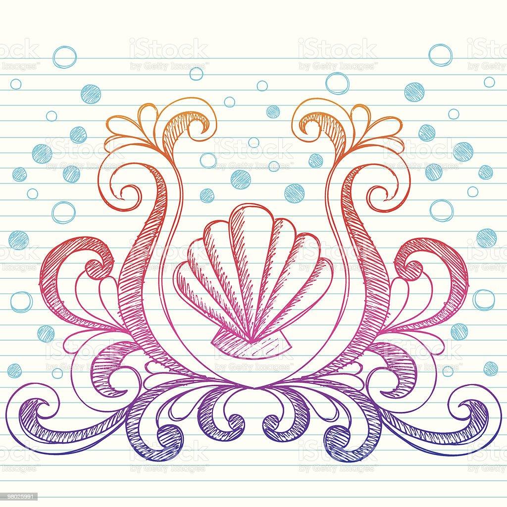 Hand-Drawn Sketchy Beach Seashell Notebook Doodles royalty-free stock vector art
