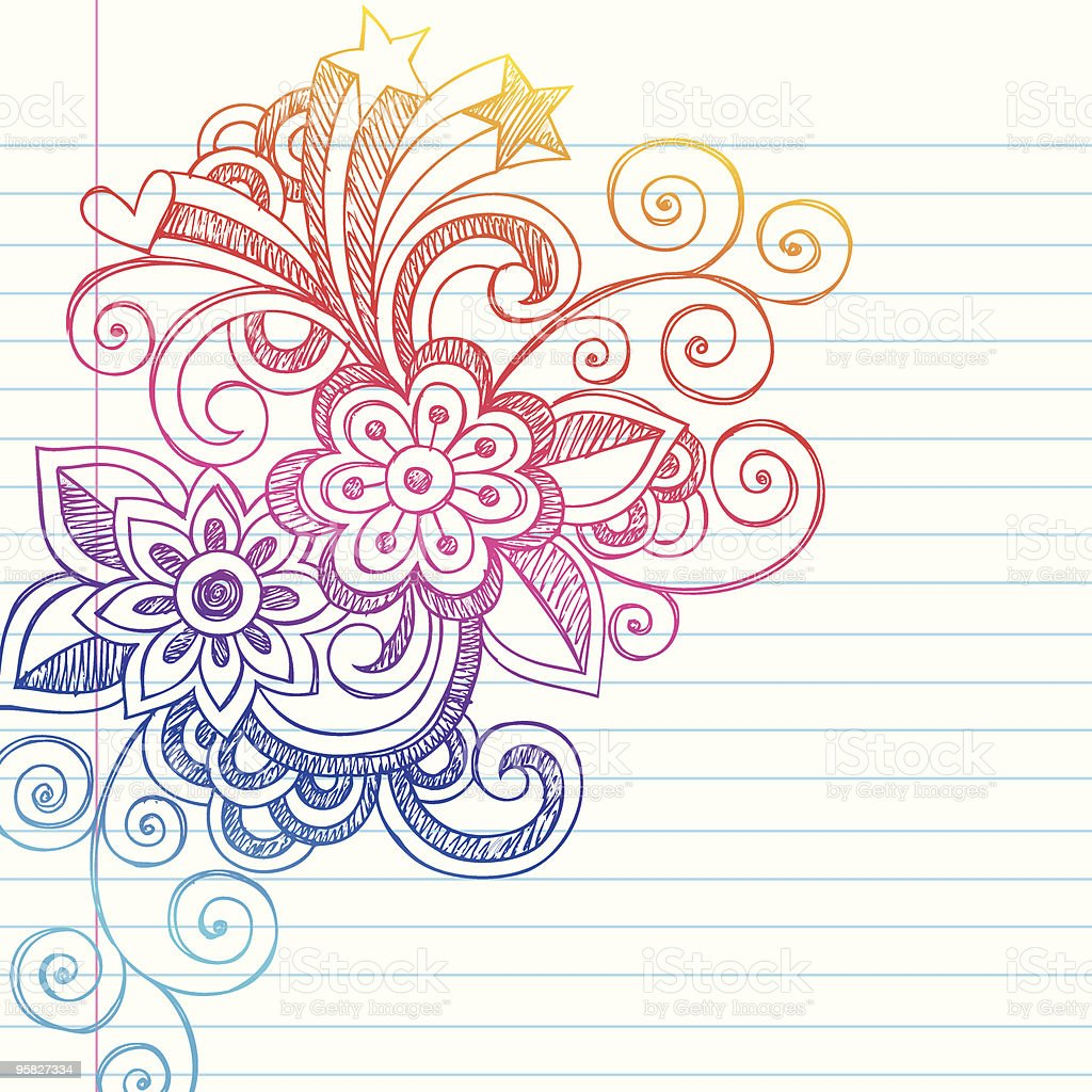 Hand-Drawn Sketchy Flower Notebook Doodles royalty-free stock vector art