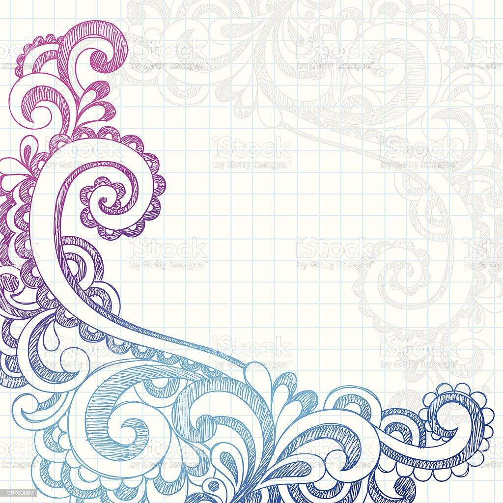 Hand-Drawn Sketchy Paisley Edge Notebook Doodles royalty-free stock vector art