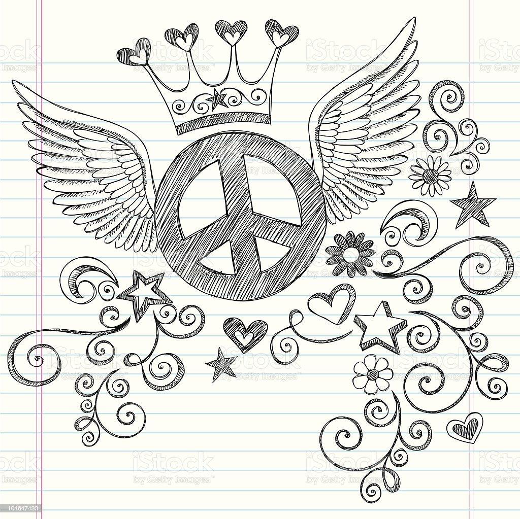 Hand-Drawn Sketchy Peace Sign Princess Doodles royalty-free stock vector art