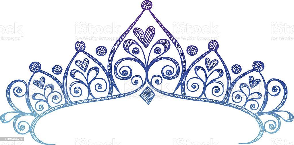 Hand-Drawn Sketchy Princess Tiara Crown Doodle vector art illustration