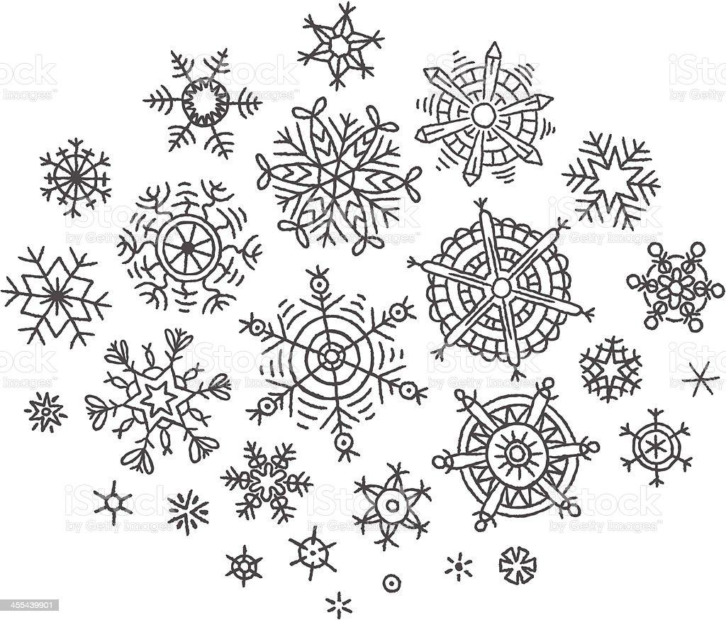 Hand-drawn snowflakes vector art illustration