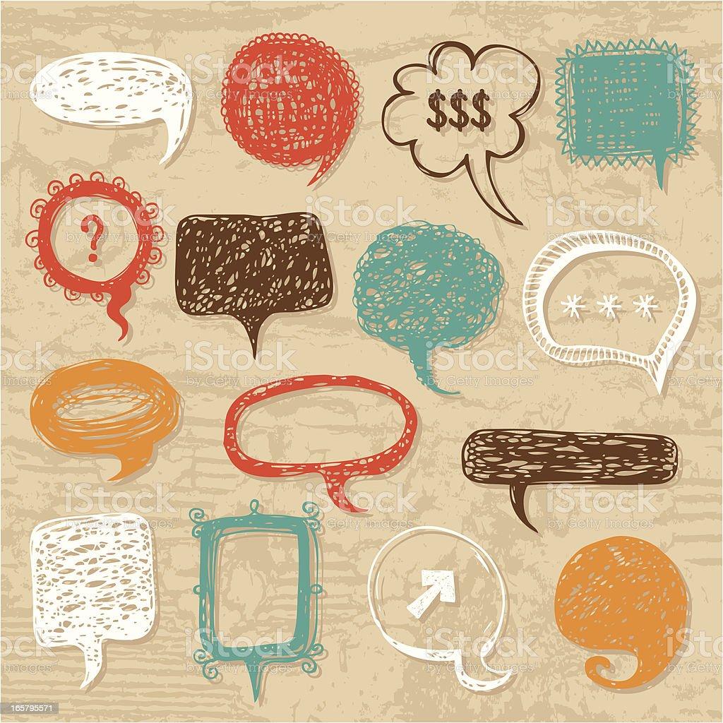 Hand-drawn speech bubbles set royalty-free stock vector art