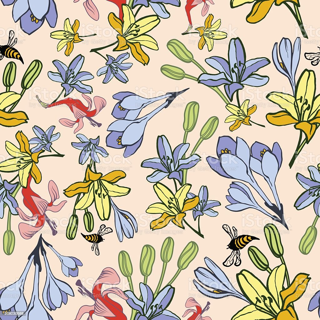 Hand-drawn summer flower seamless pattern vector art illustration
