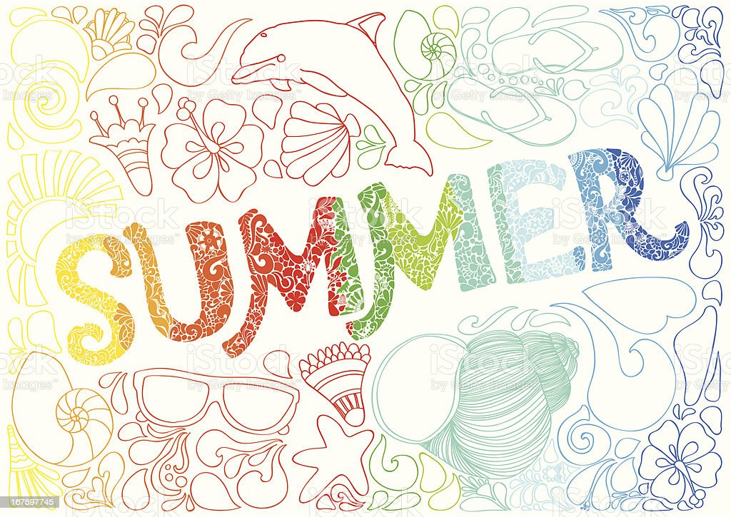 Hand-Drawn Summer Lettering filled with beach objects royalty-free stock vector art