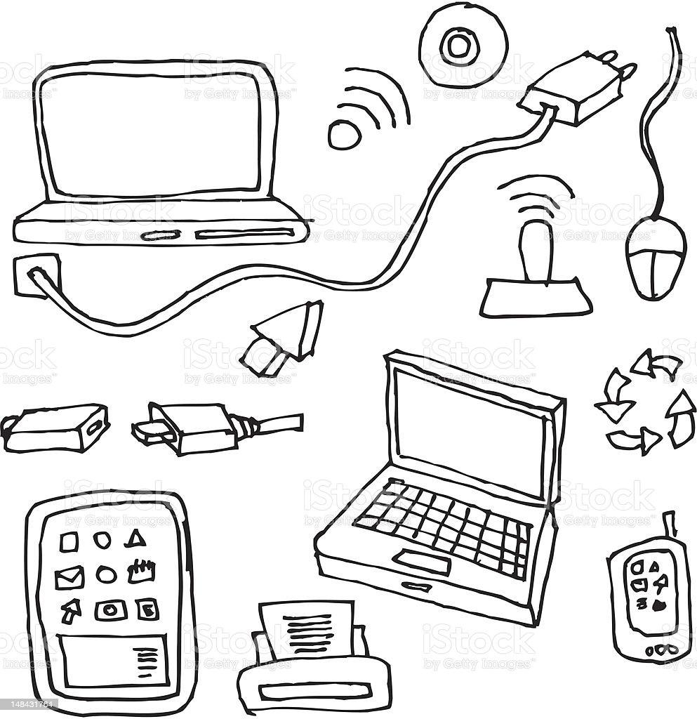 handdrawn technology design elements, royalty-free stock vector art