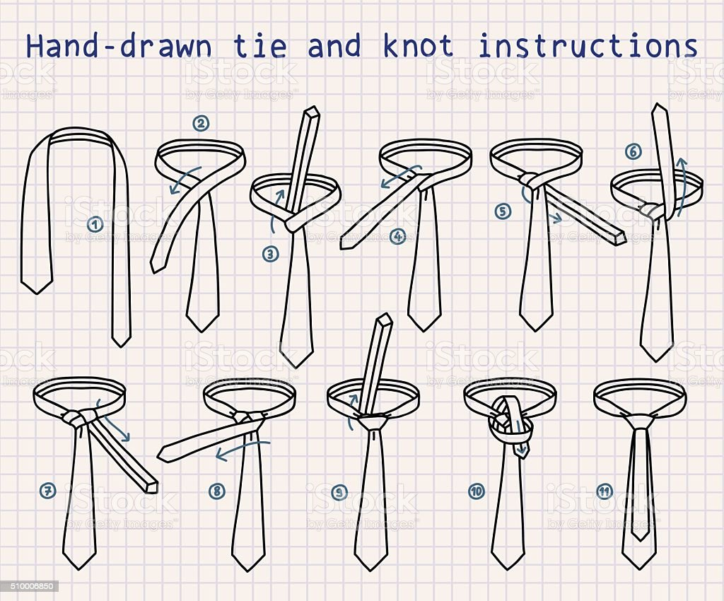 Hand-drawn tie and knot instructions vector art illustration