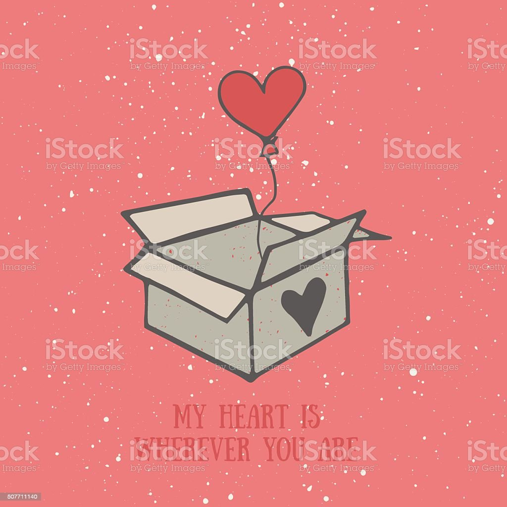 Hand-drawn valentine's day card vector art illustration