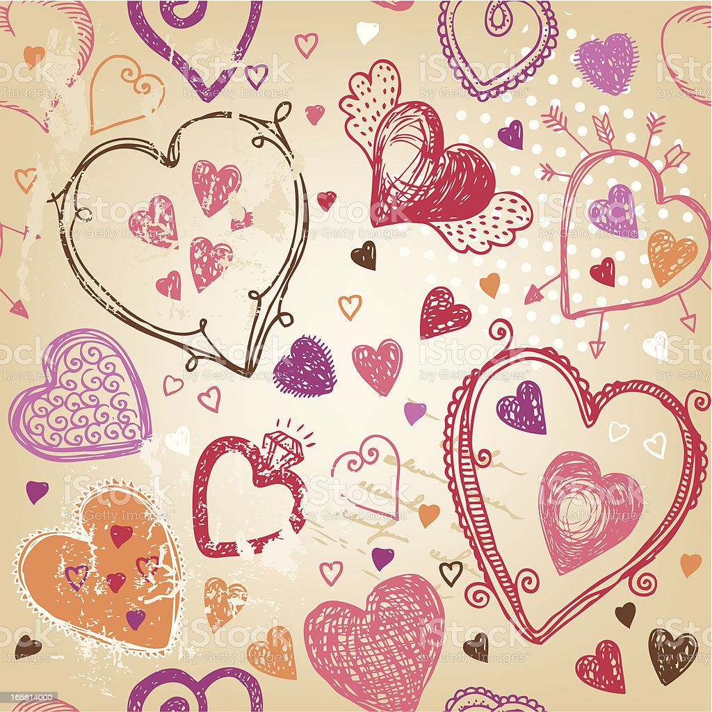 Hand-drawn Valentine`s day pattern royalty-free stock vector art