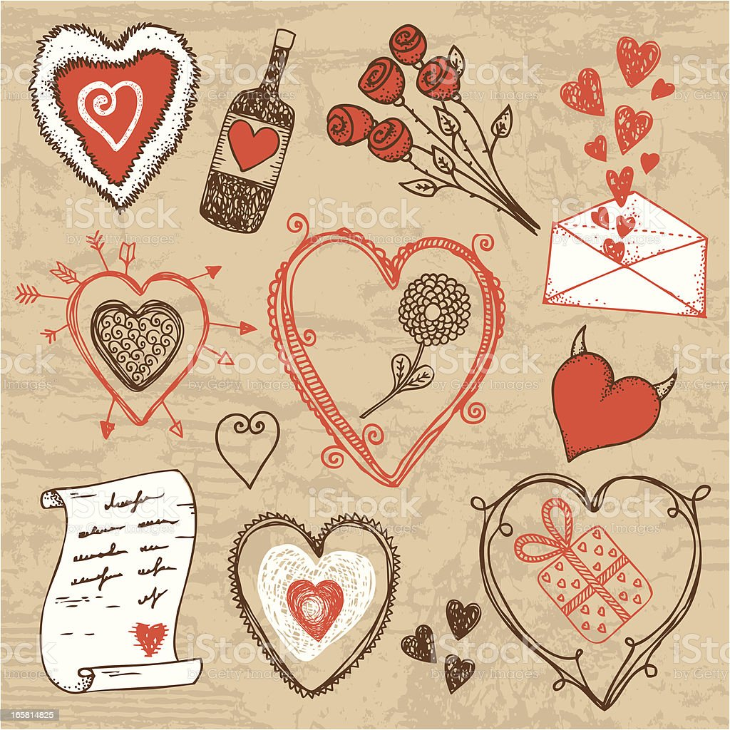 Hand-drawn Valentine`s day set royalty-free stock vector art