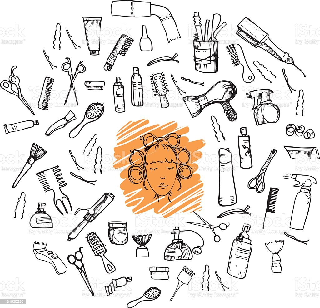 Hand-drawn vector illustration. Mega set - Hairdressing tools vector art illustration