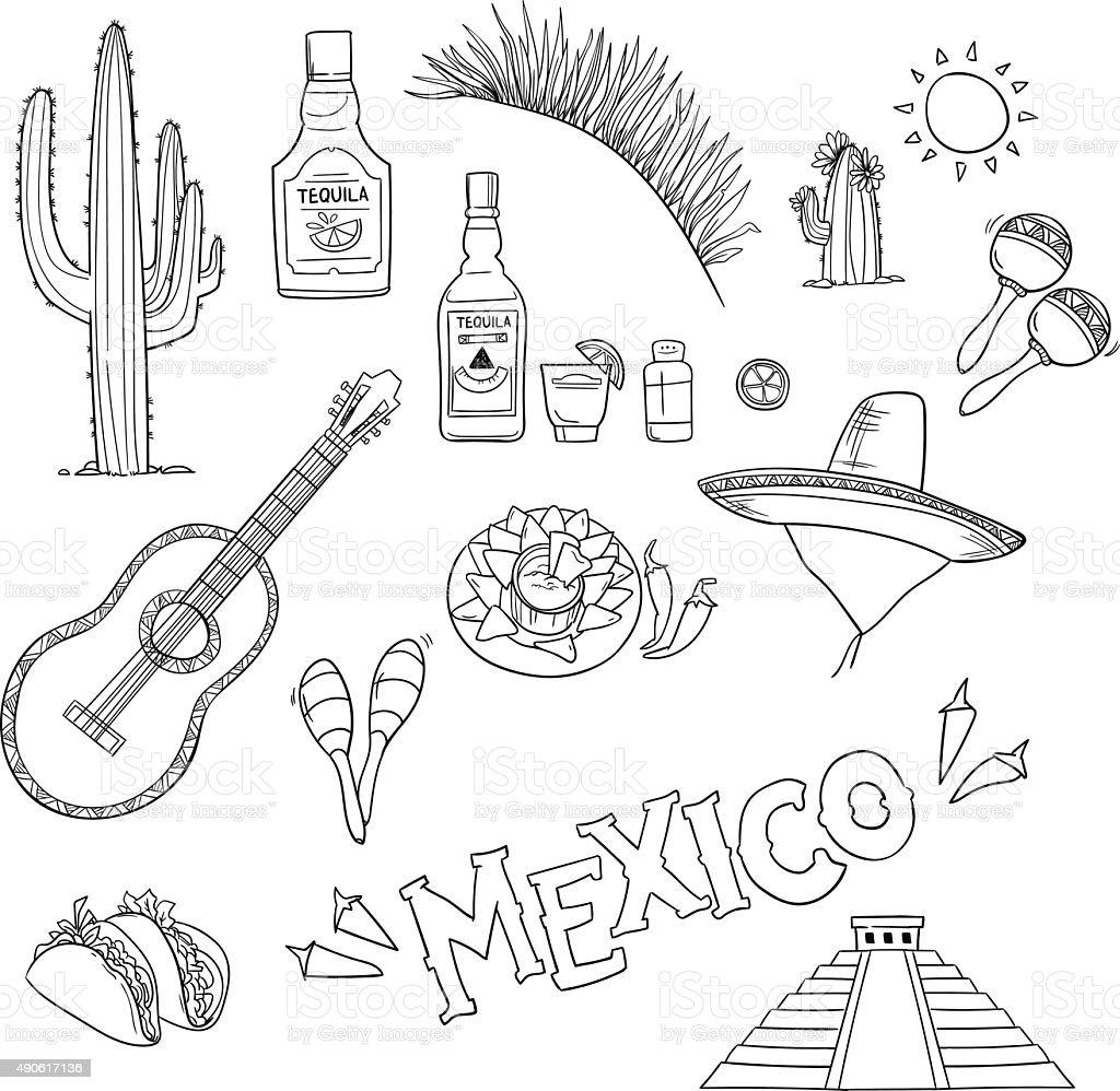 Hand-drawn vector illustration - Mexico. Mexico icons. vector art illustration