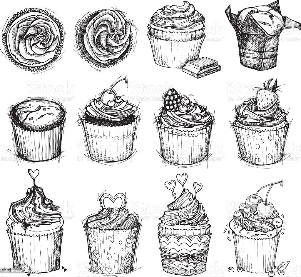 Hand-drawn vector illustration - Sweet cupcakes. Line art. vector art illustration