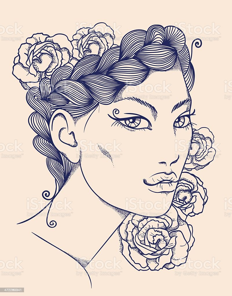 Hand-drawn woman face royalty-free stock vector art