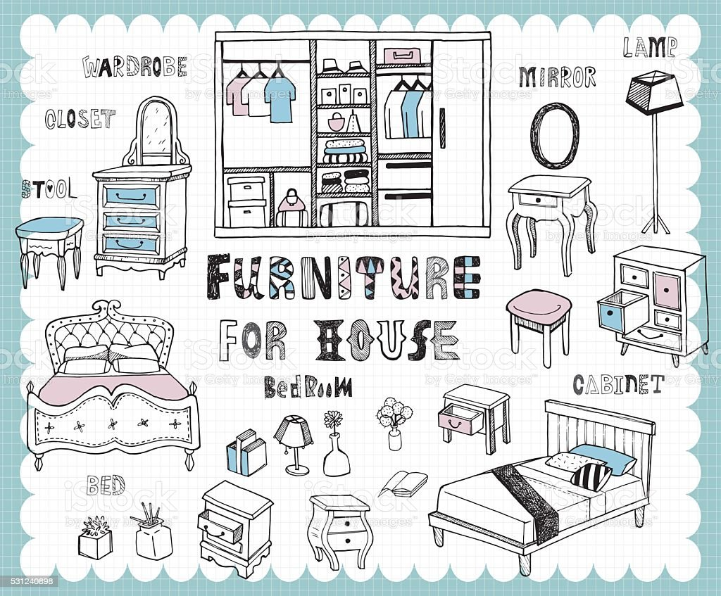 Handdrawn_homefurnishing_bedroom vector art illustration