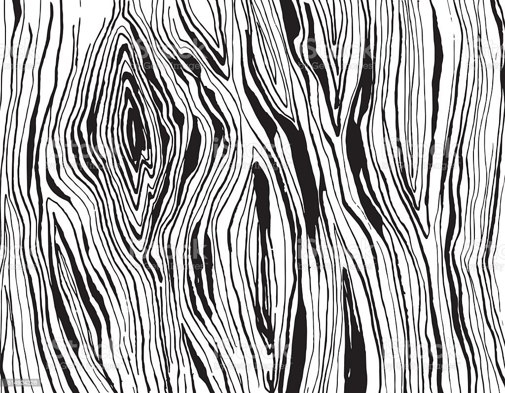Handdrawnn grungy wooden texture. Black and white vector art illustration