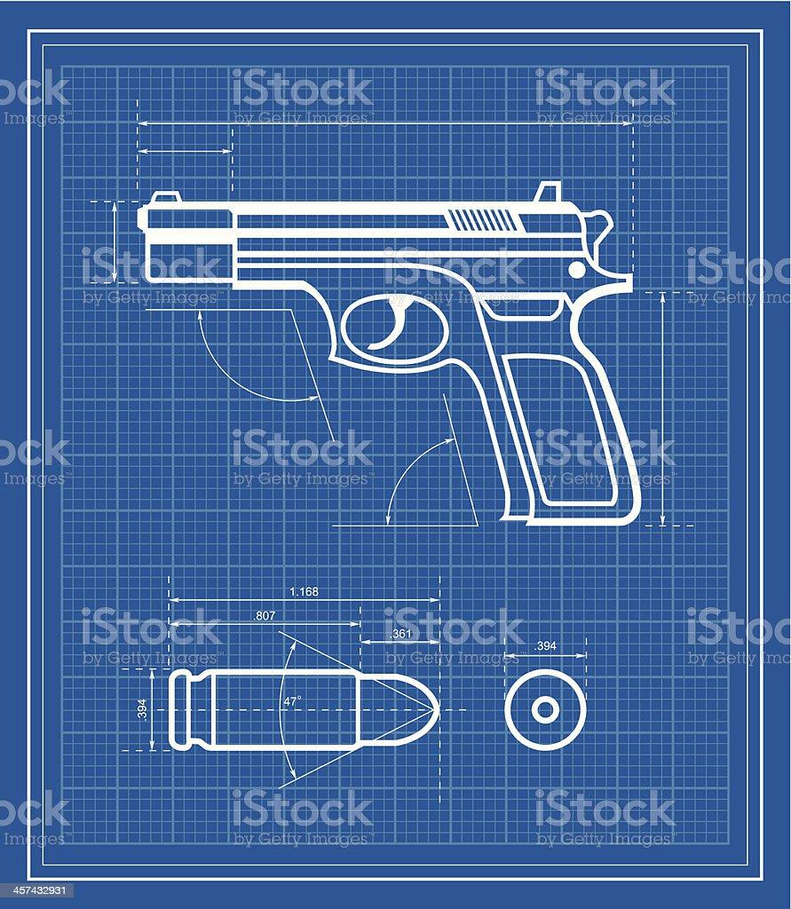Handgun blueprint vector art illustration
