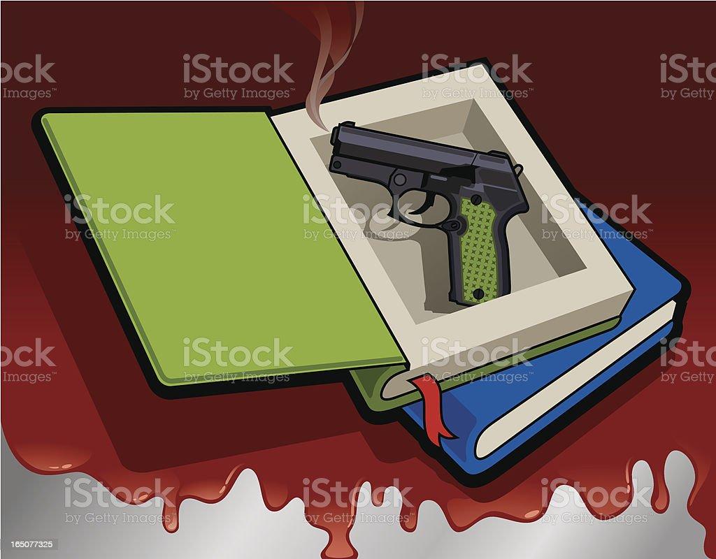 Handgun Hid in A Thick Novel Book Vector vector art illustration