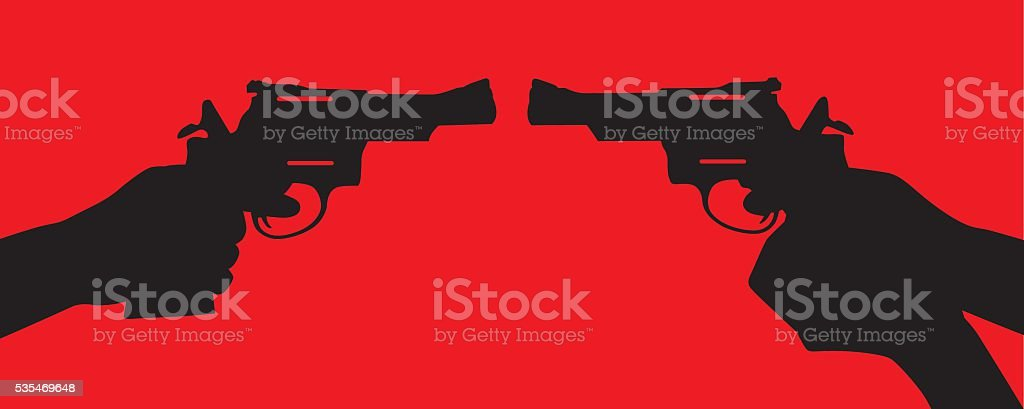 Handgun Standoff vector art illustration