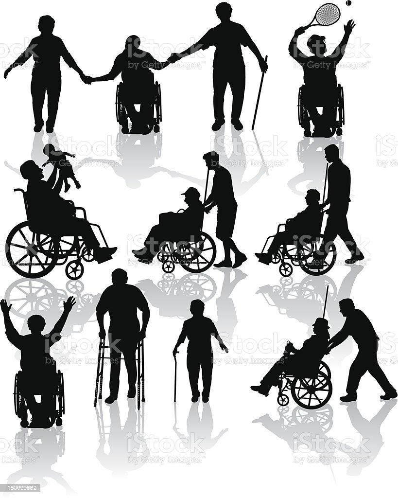 Handicap and Elderly Senior Adults royalty-free stock vector art