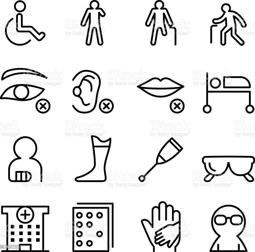 Handicap & Disabled icon set in thin line style vector art illustration