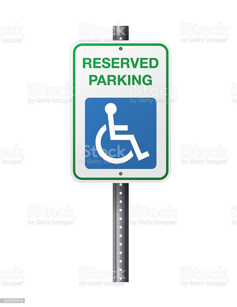 Handicap Reserved Parking Sign vector art illustration