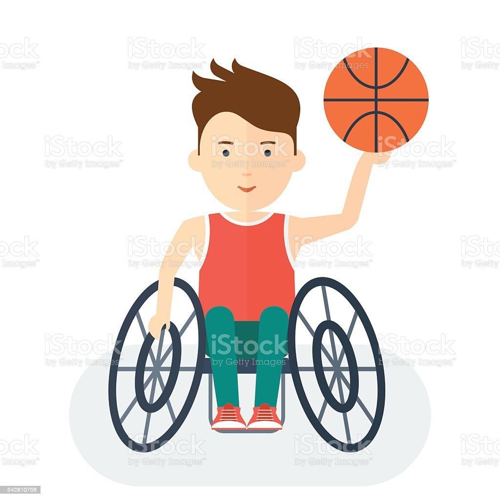 Handicapped athlete basketball vector art illustration