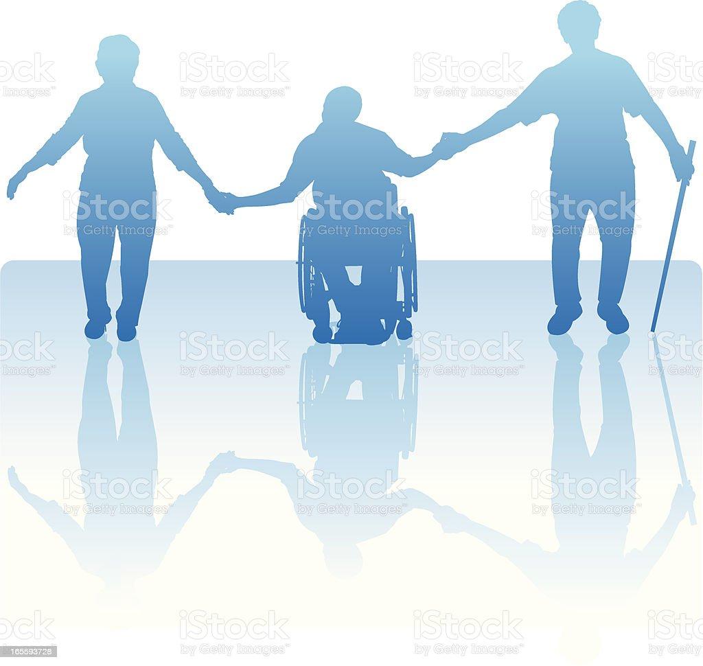 Handicapped Senior Citizen Elderly People Holding Hands royalty-free stock vector art