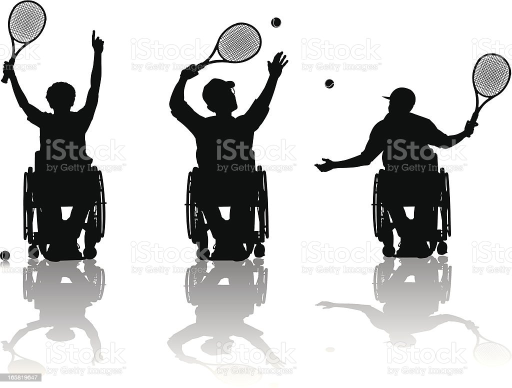 Handicapped Tennis Players vector art illustration