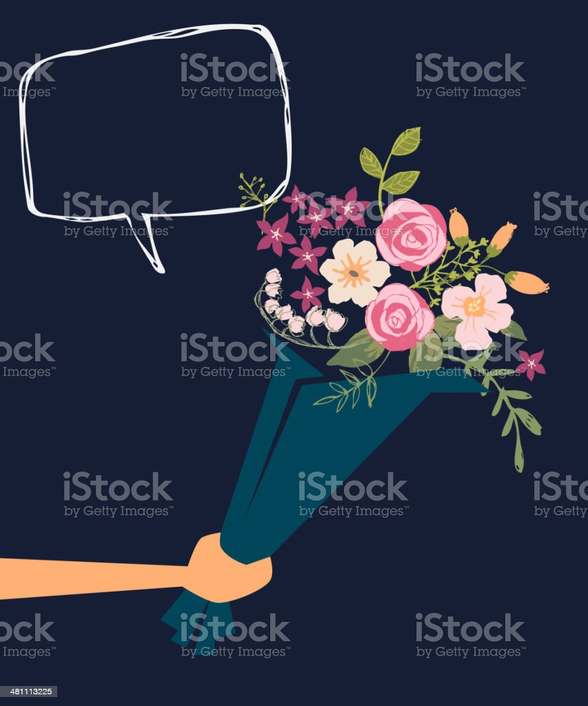 Handing a Bouquet of Flowers vector art illustration