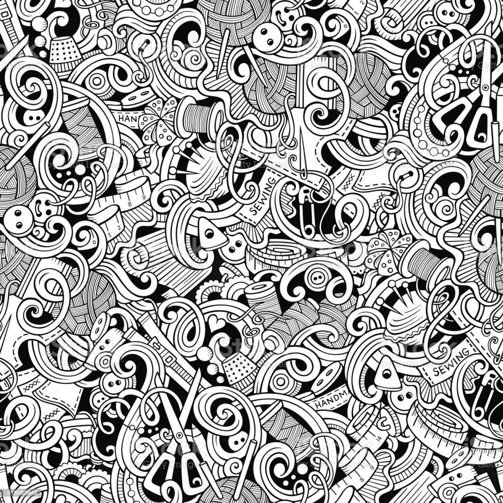Handmade and sewing doodles seamless pattern vector art illustration