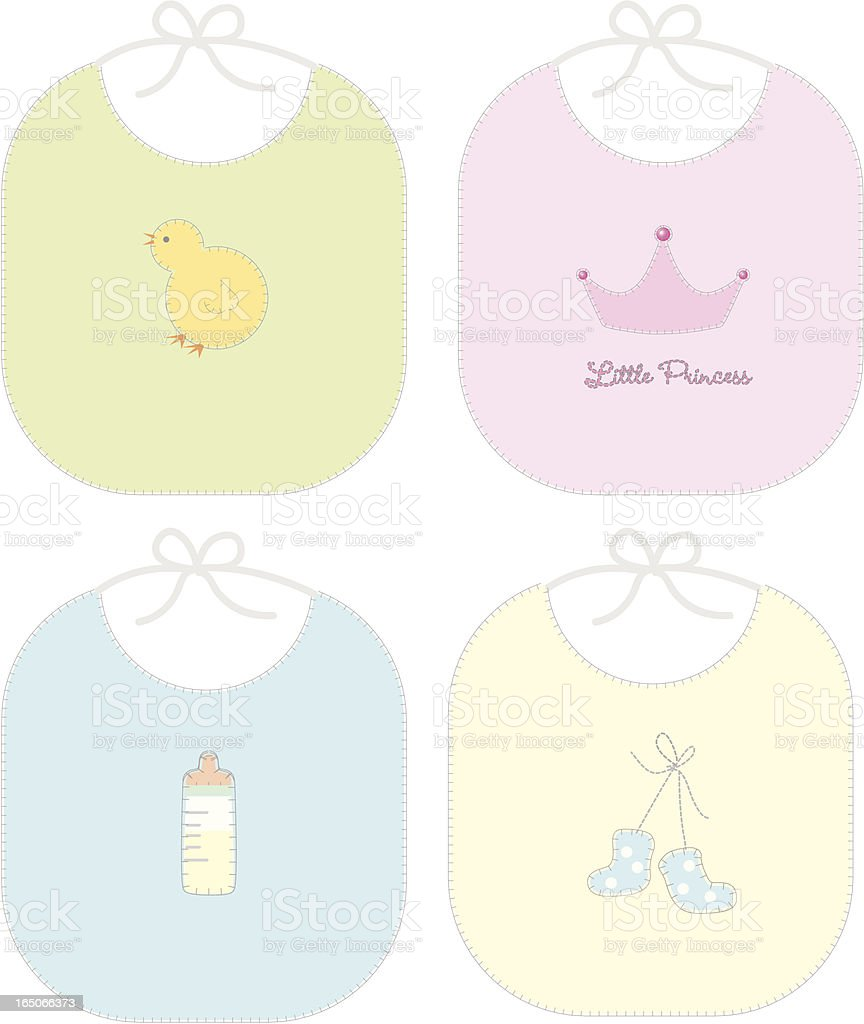 Handmade Bibs - Zoom in to see stiching! royalty-free stock vector art