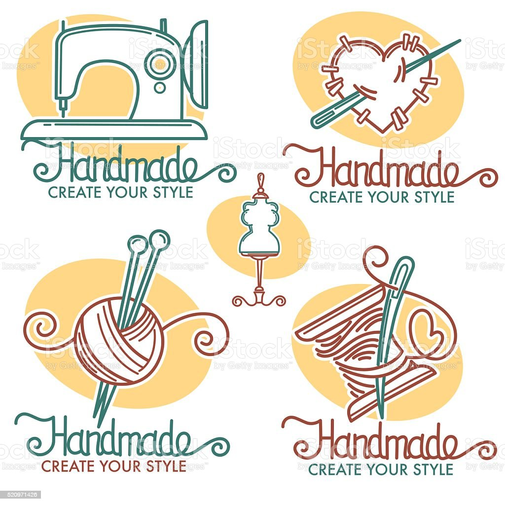 handmade collection in linear style vector art illustration