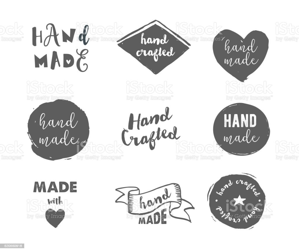 Handmade, crafts workshop, made with love icons vector art illustration