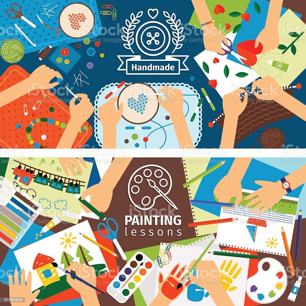 Handmade creative kids banners vector art illustration