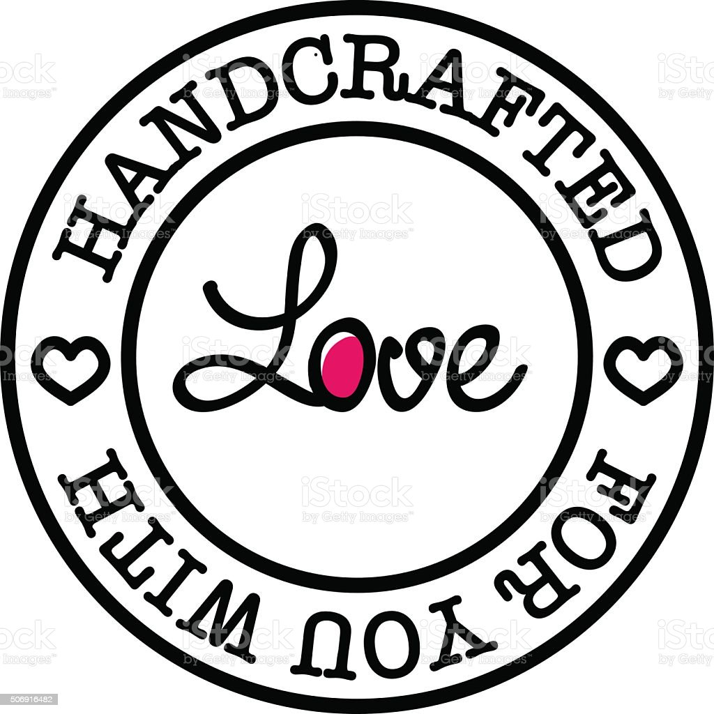 Hand-made for you with love vector retro badge vector art illustration