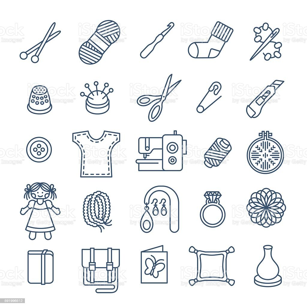 Handmade hobby activities vector flat thin line icons vector art illustration