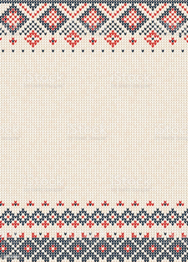 Handmade knitted background pattern with scandinavian ornaments. vector art illustration