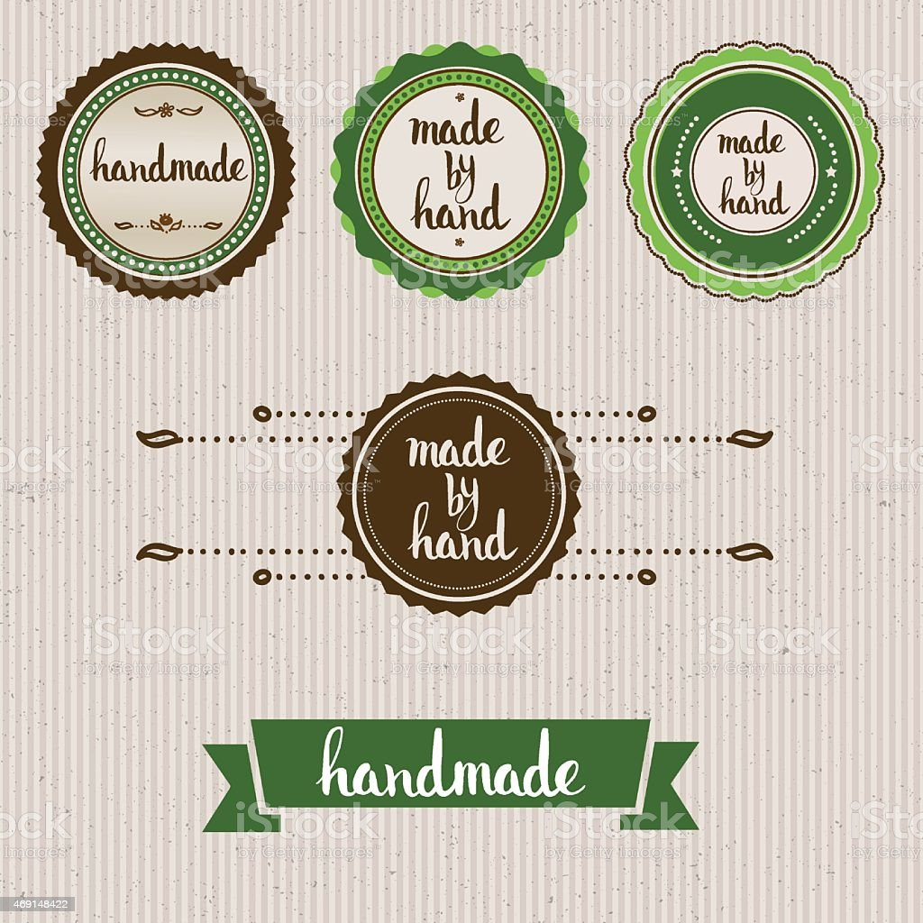 Handmade. Original custom hand lettering. vector art illustration